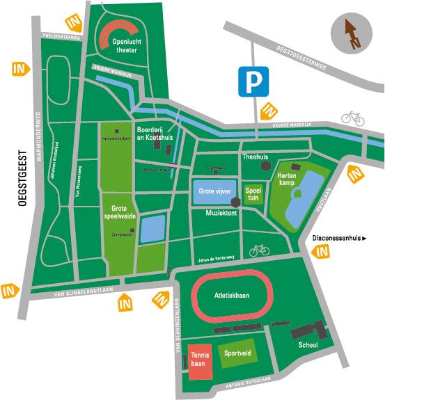 Plattegrond Leiden Atletiek en omgeving Leidse Hout